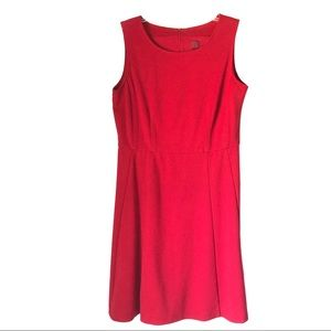 Professional solid red flare dress
